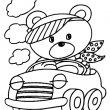 beer in auto kleurplaat